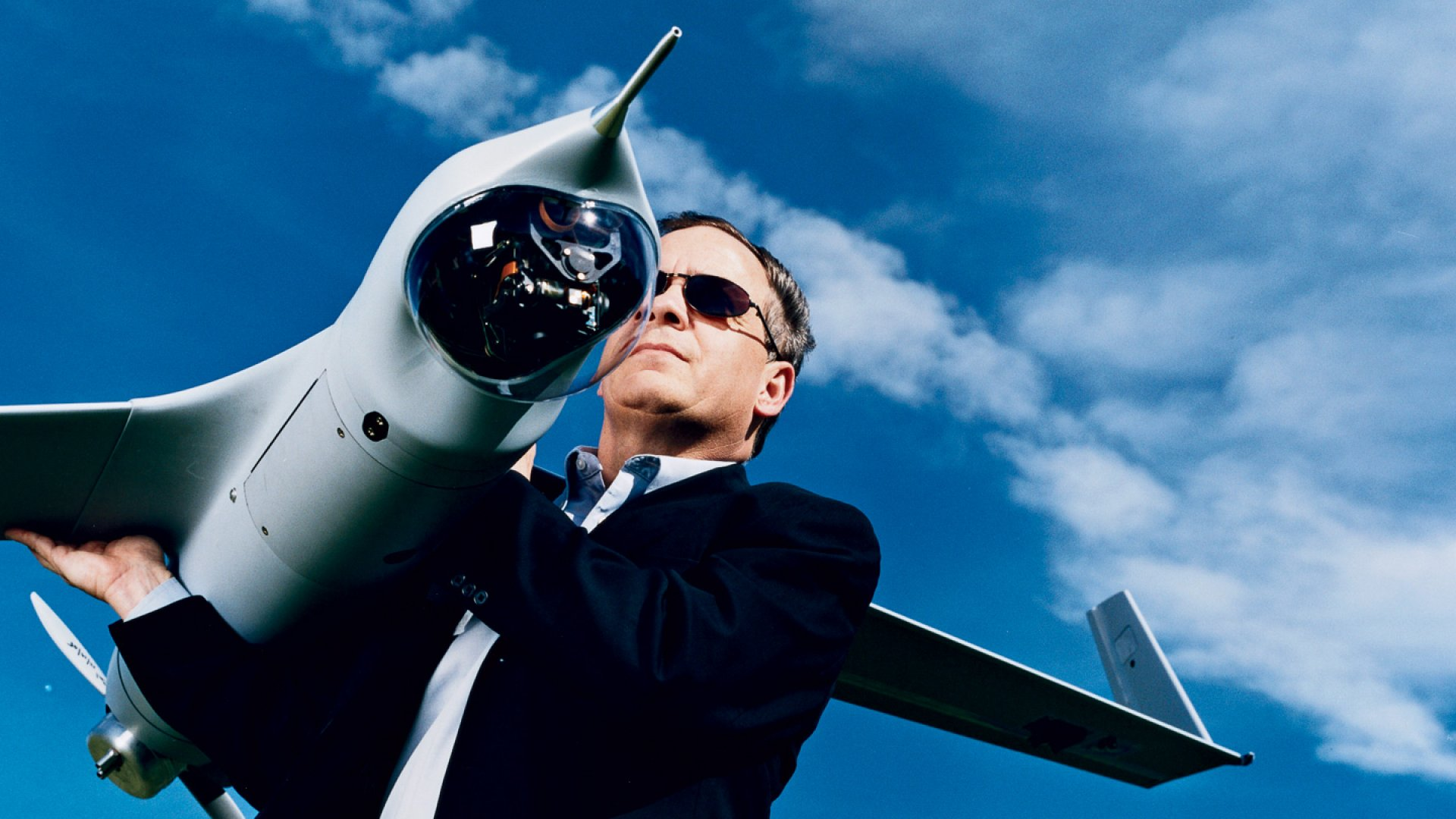FLYBOY Steven Sliwa and the ScanEagle, an unmanned surveillance aircraft used to spy on bad guys in Iraq.