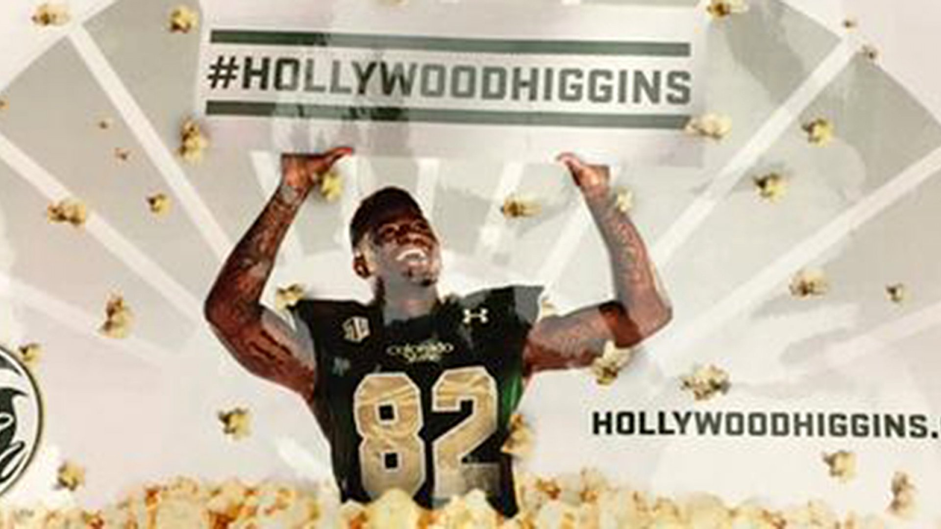 """Colorado State University made 500 packages of microwave popcorn to promote wide receiver Rashard """"Hollywood"""" Higgins."""