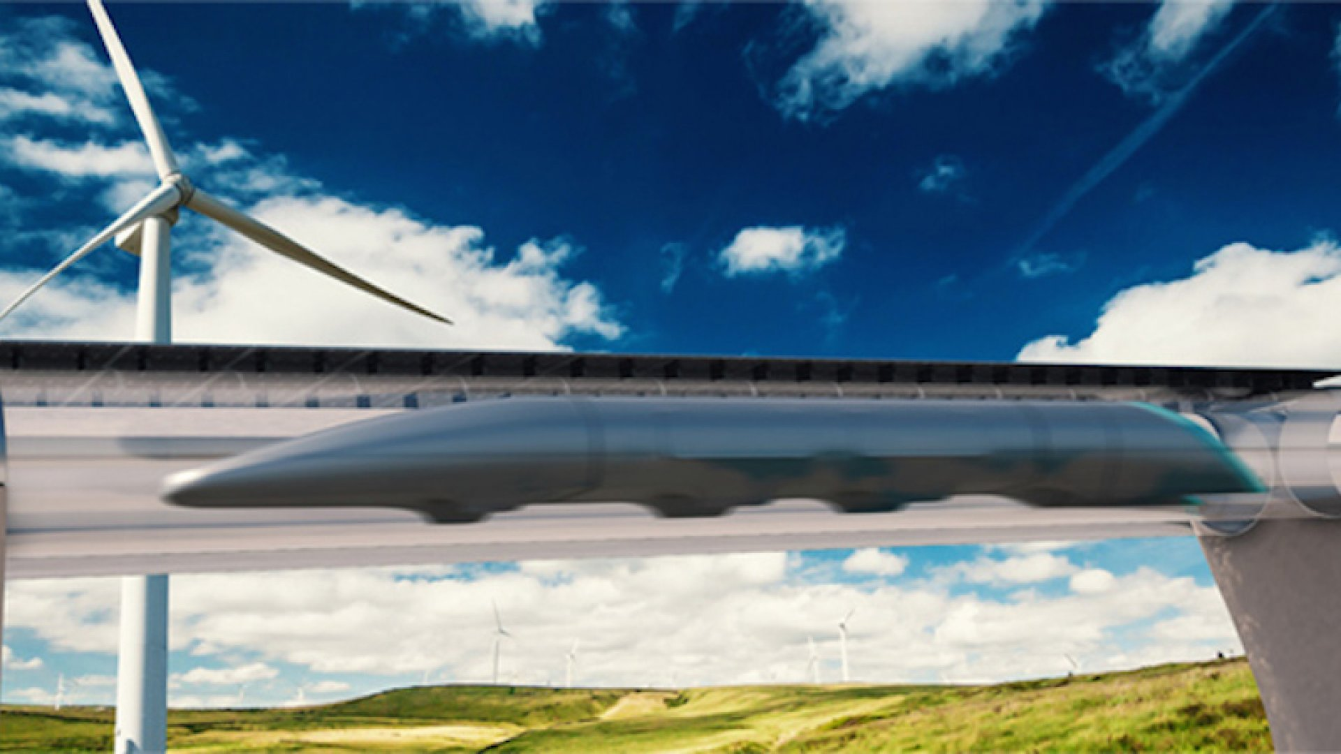A Hyperloop Transportation Technologies rendering of the proposed high-speed transport system.