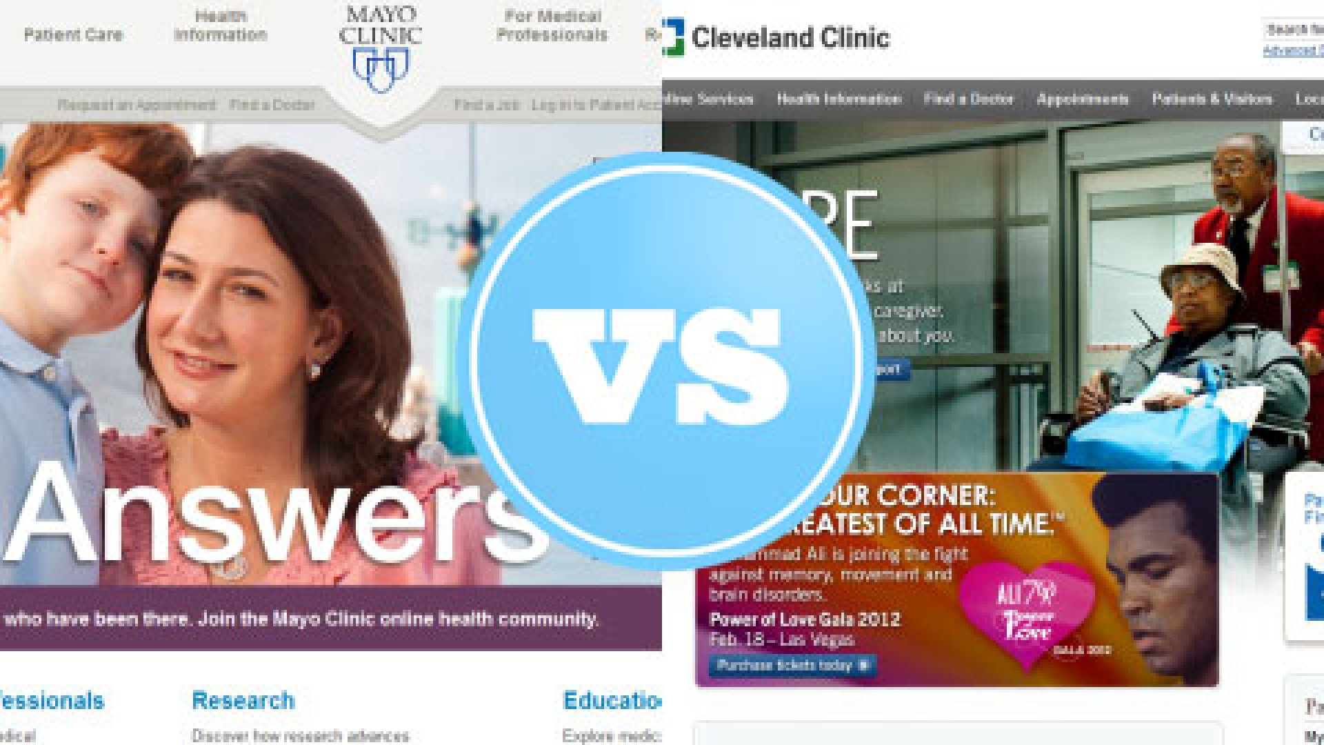 Website Smackdown: Mayo Clinic vs. Cleveland Clinic