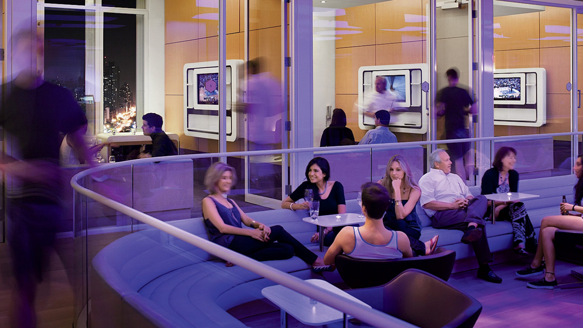 <b>Let's Get Together</b> Yotel features small workplaces with a hip vibe.