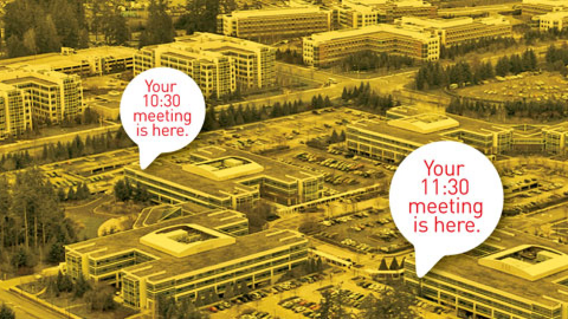 <strong>THE MEETING PLACE</strong> Today, managers at Microsoft's 94-building campus (above) are often booked in consecutive meetings for days at a time.