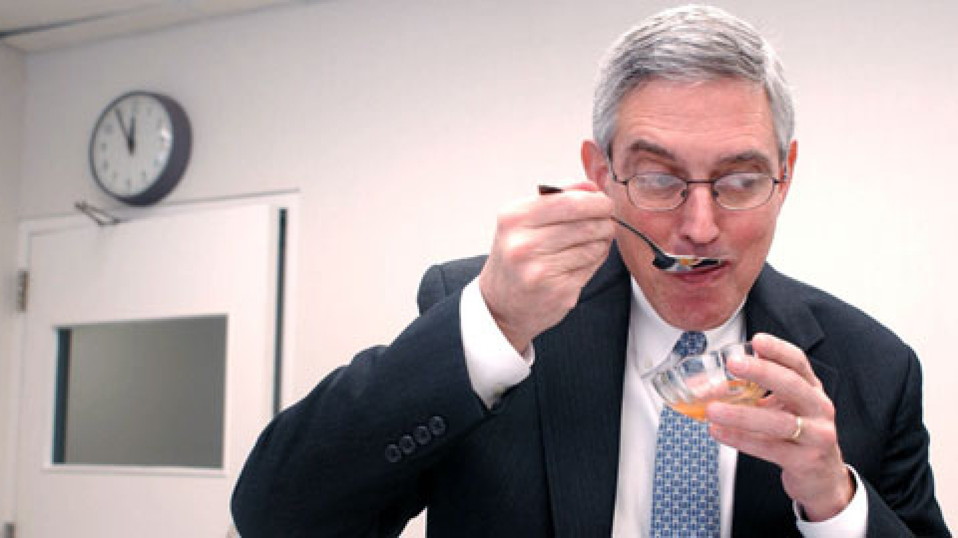<strong>M'm! M'm!</strong> Doug Conant, CEO of Campbell Soup Co., tastes one of the new and improved soups.