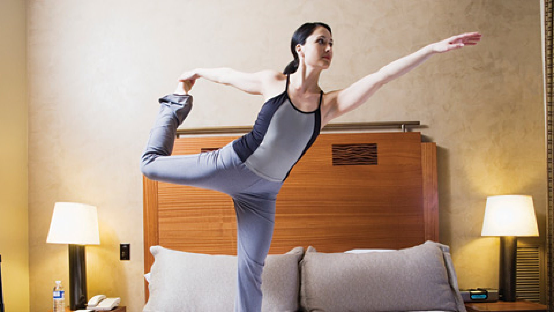 <strong>Gymboree:</strong> You may be more likely to stick with a routine if you work out in the privacy of your hotel room.