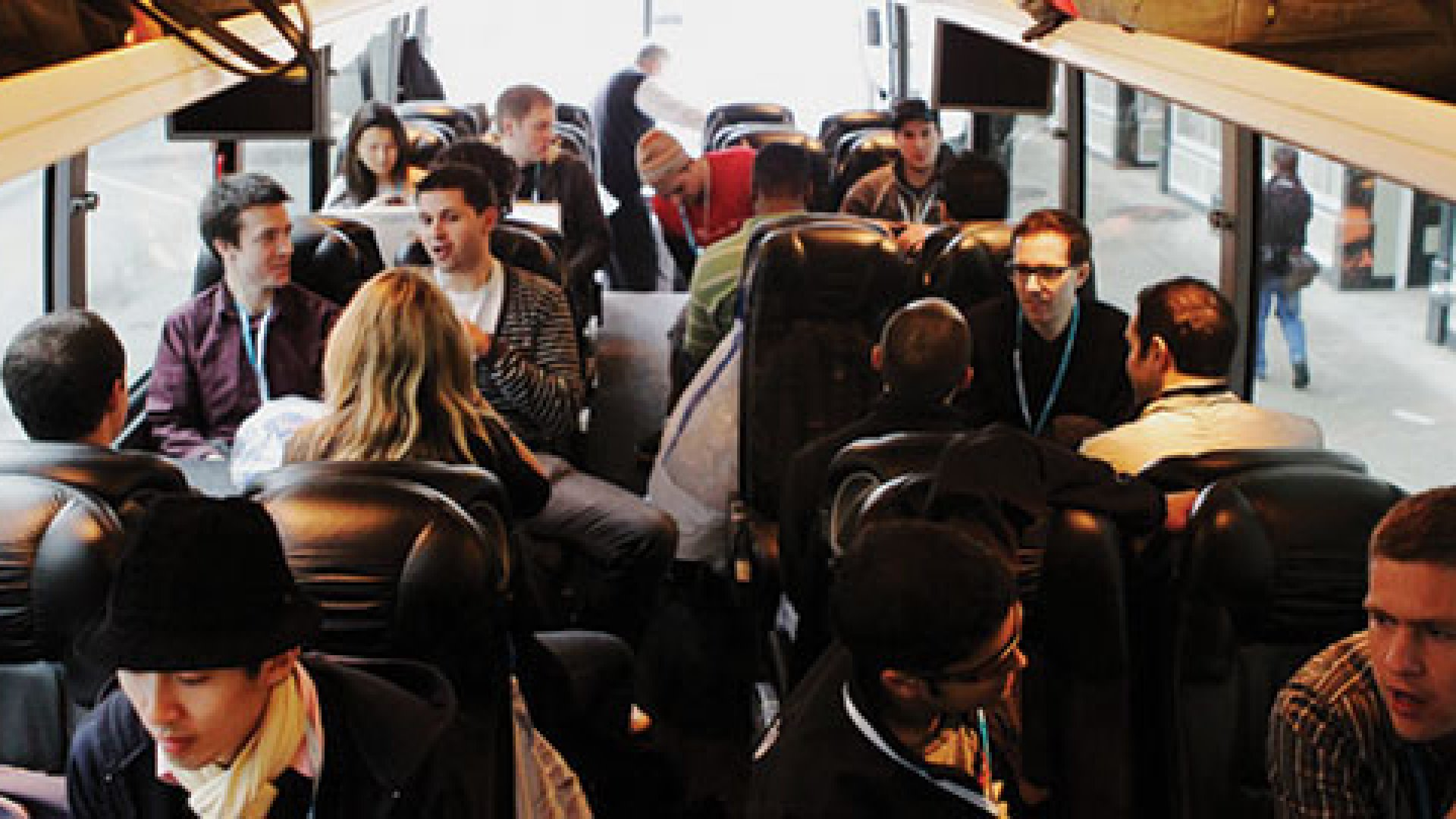 """<strong>Buspreneurs</strong>: Young programmers head out on Day One of the  <a href=""""http://www.wired.com/underwire/2011/03/startup-bus-sxsw/"""" target=""""_blank"""">StartupBus's</a> two-day trip to SXSW."""