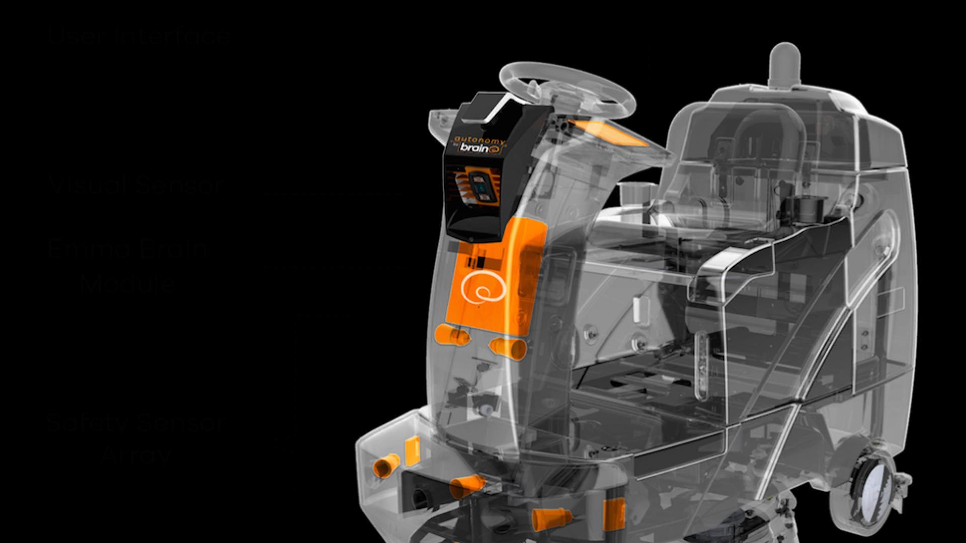 An EMMA-enabled floor scrubbing machine from Brain Corporation.