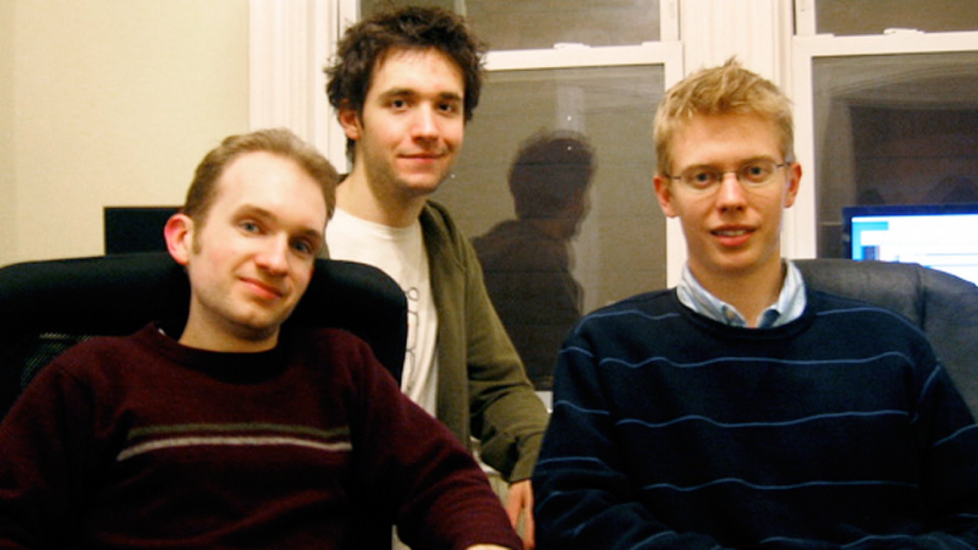 Another shot: Reddit co-founders Alexis Ohanian (at center) and Steve Huffman (at right), pictured here in 2006, who are today the site's executive chairman and chief executive, are now also joined by Christopher Slowe (at left), their longtime friend and colleague.
