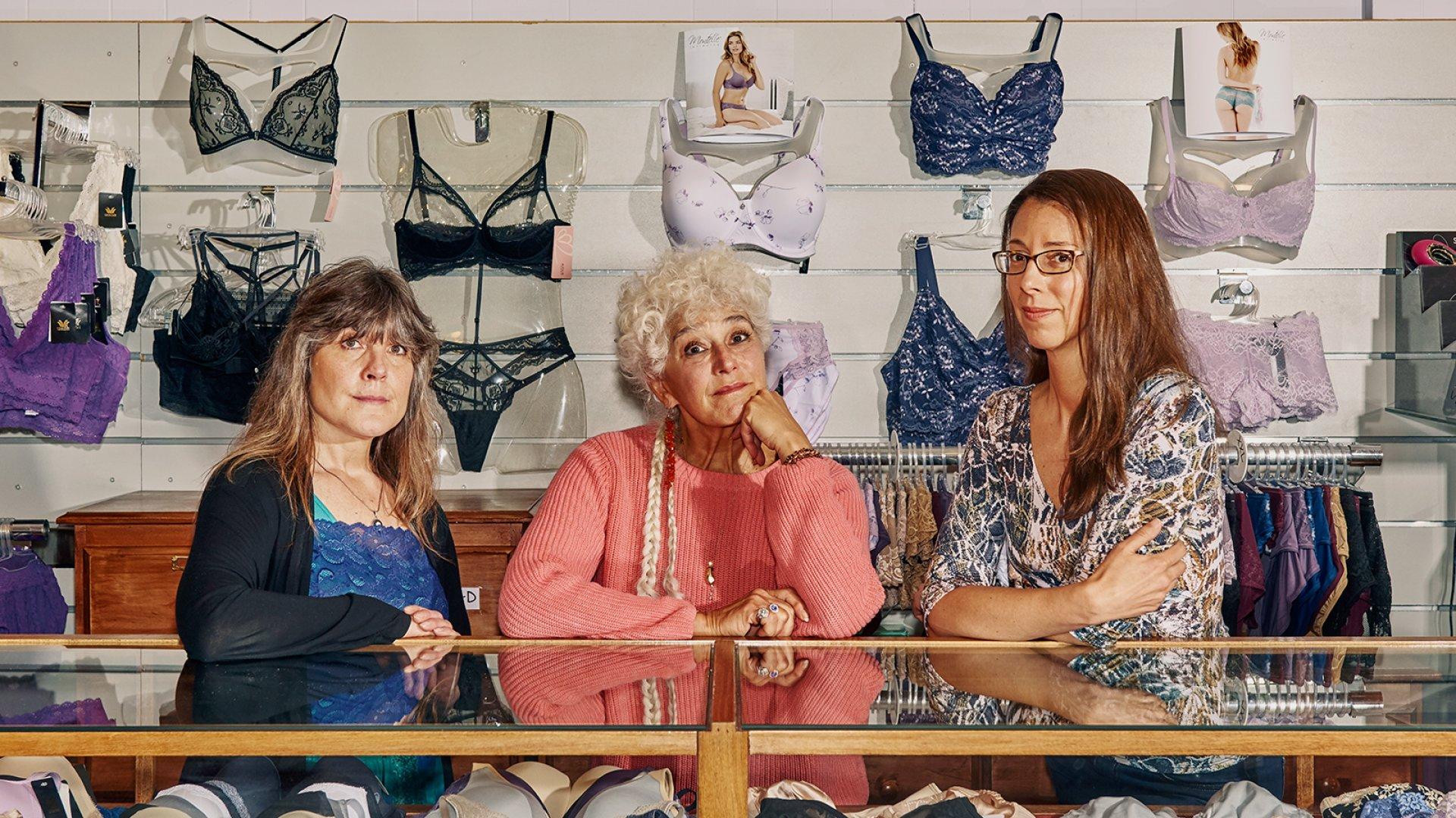 Gazebo Intimates co-owner Donna McNeight (left), founder Judith Fine, and co-owner Amy Dickinson.