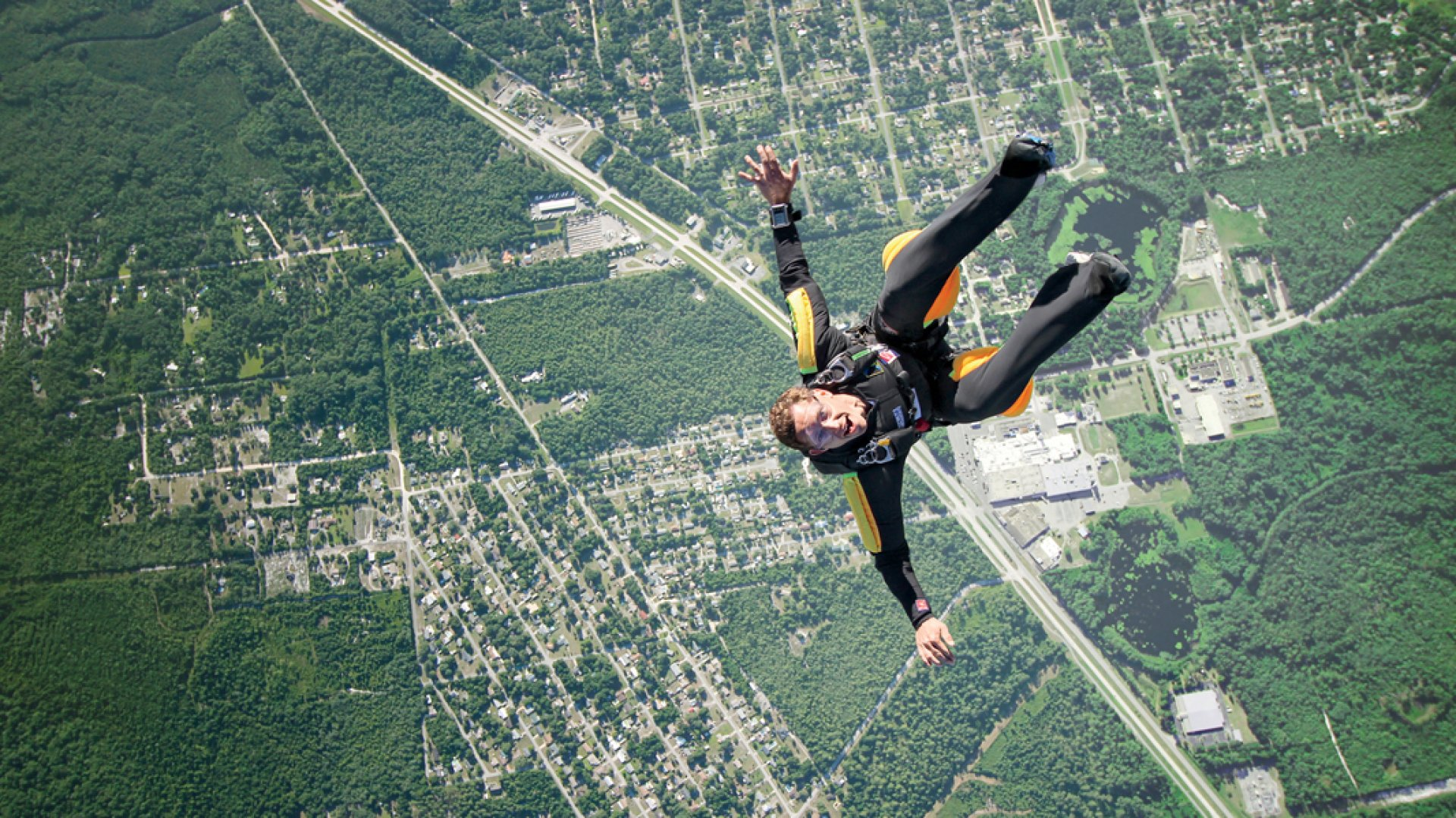 Brad Weinberg, several thousand feet above Central Florida, where he often trains with his skydiving team.
