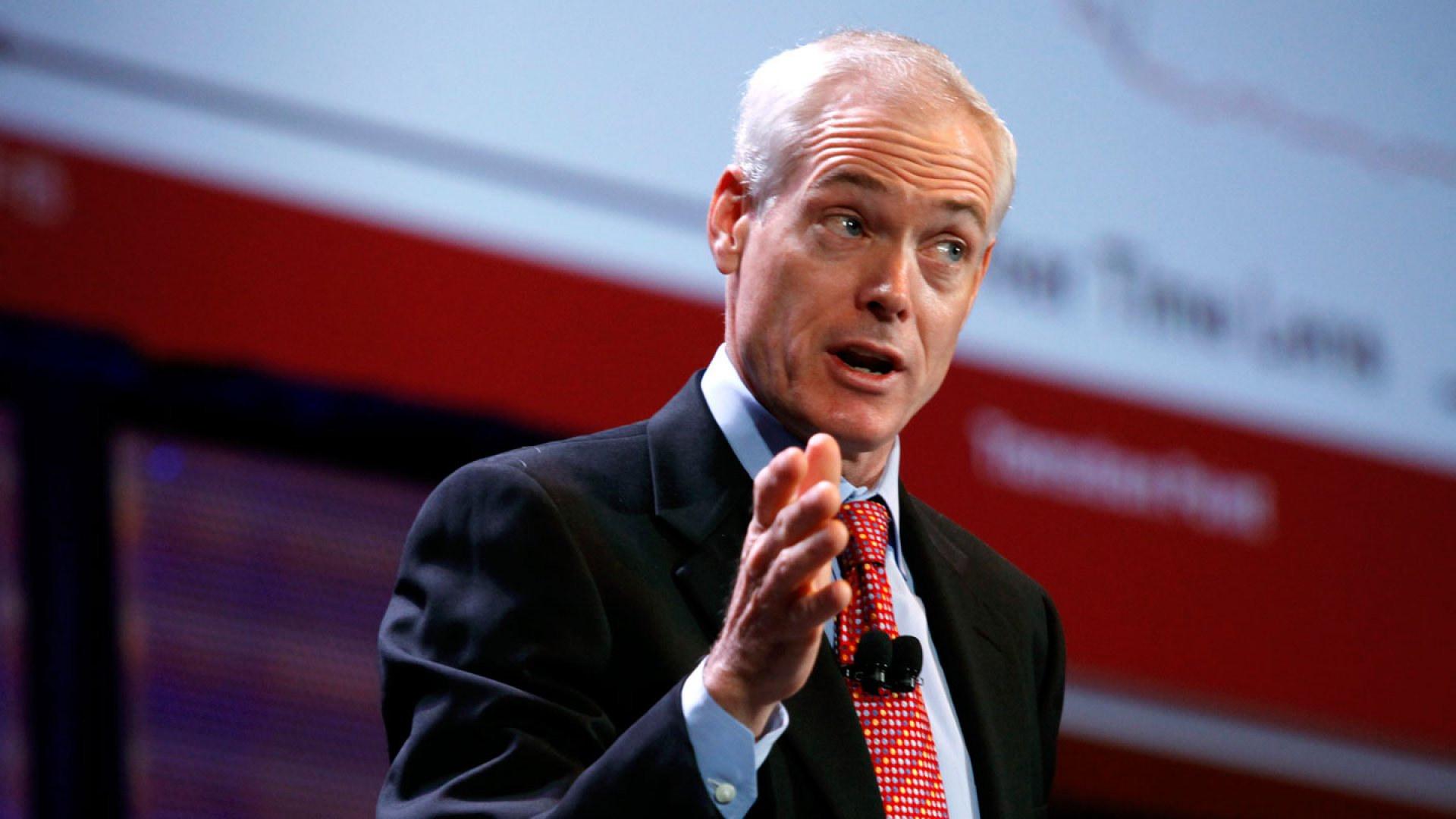 Author Jim Collins speaks at the World Business Forum in New York, U.S., on Tuesday, Oct. 5, 2010.