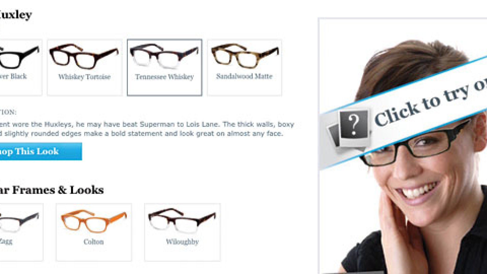 Warby Parkers online Virtual Booth; customers upload photos and can see how they look on their face.