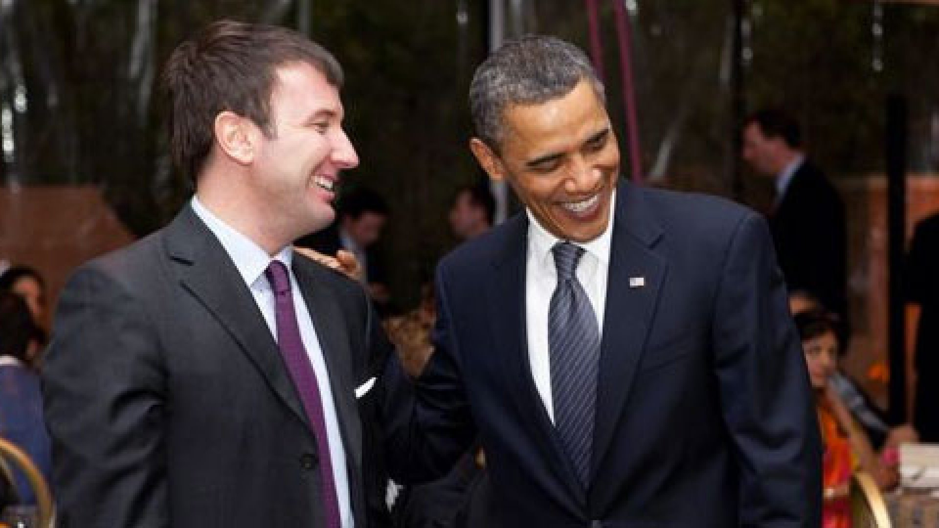 Jon Burgstone, managing director at Symbol Capital, with President Barack Obama