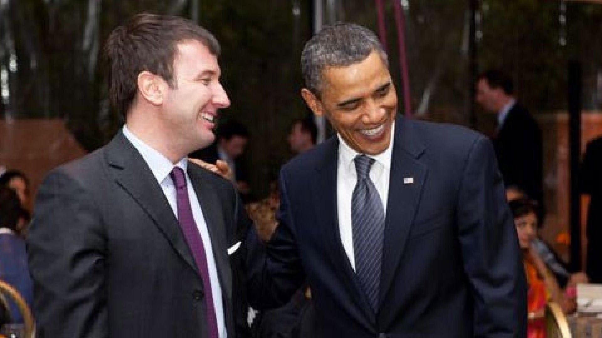Jon Burgstone, managing director at Symbol Capital, with President Barack Obama