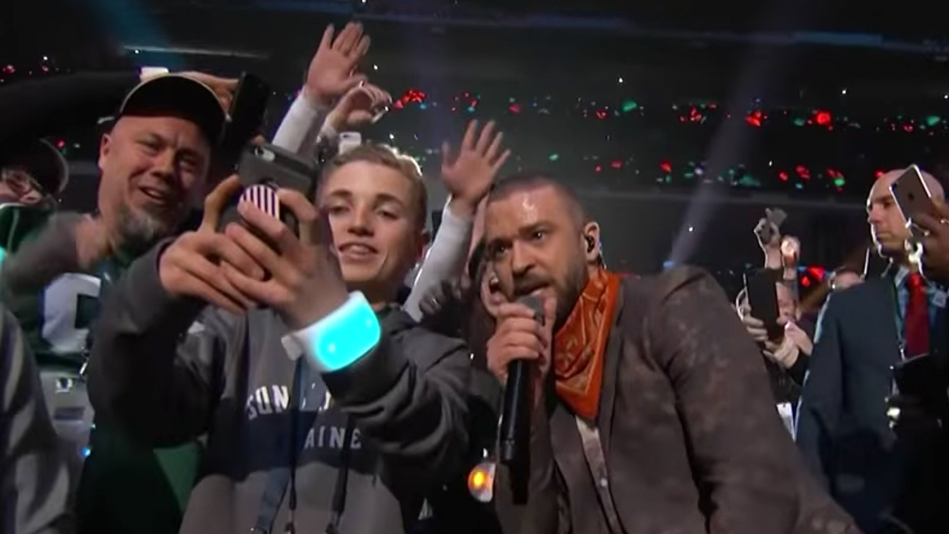 Justin Timberlake (right) and 13-year-old 'Selfie Kid' Ryan McKenna.