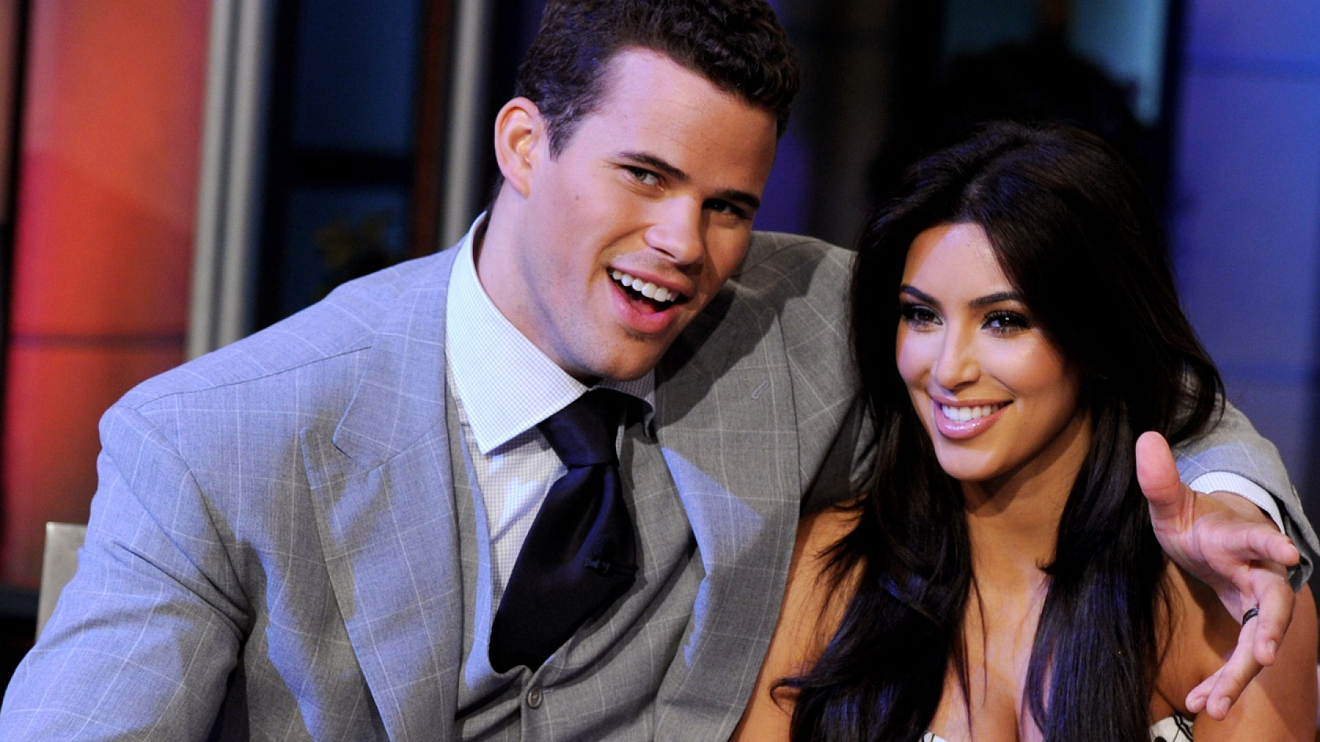 NBA player Kris Humphries and his wife reality TV personality Kim Kardashian appear on the Tonight Show With Jay Leno at NBC Studios on October 4, 2011 in Burbank, California.