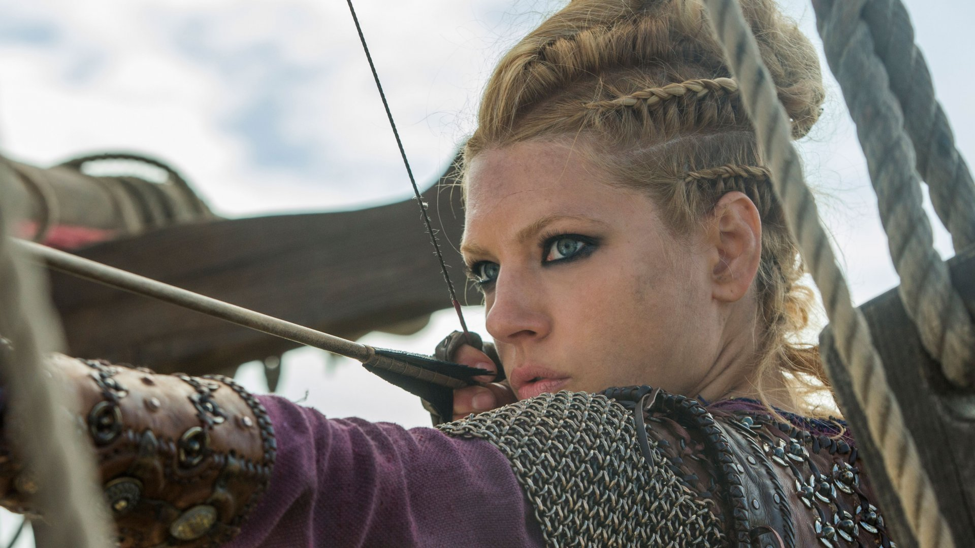 The character Lagertha (played by Katheryn Winnick), on the TV show <em>Vikings</em>.