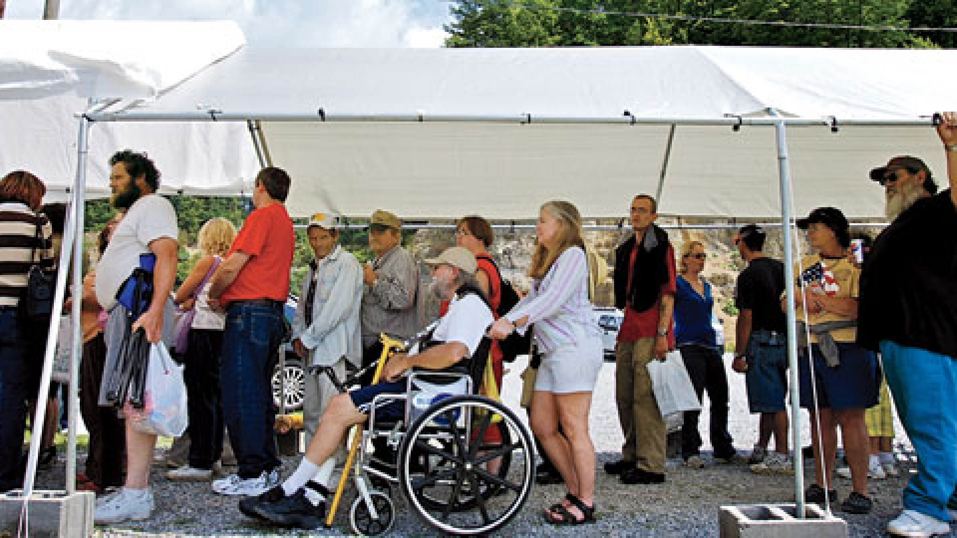 <strong>THERE MUST BE A BETTER WAY: </strong>Some 2,700 people lined up in July for free medical treatment at the Virginia-Kentucky Fairgrouds.
