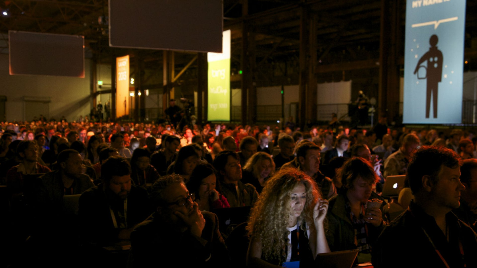 Attendees at the 2013 Launch festival listen to start-ups pitching their ideas.