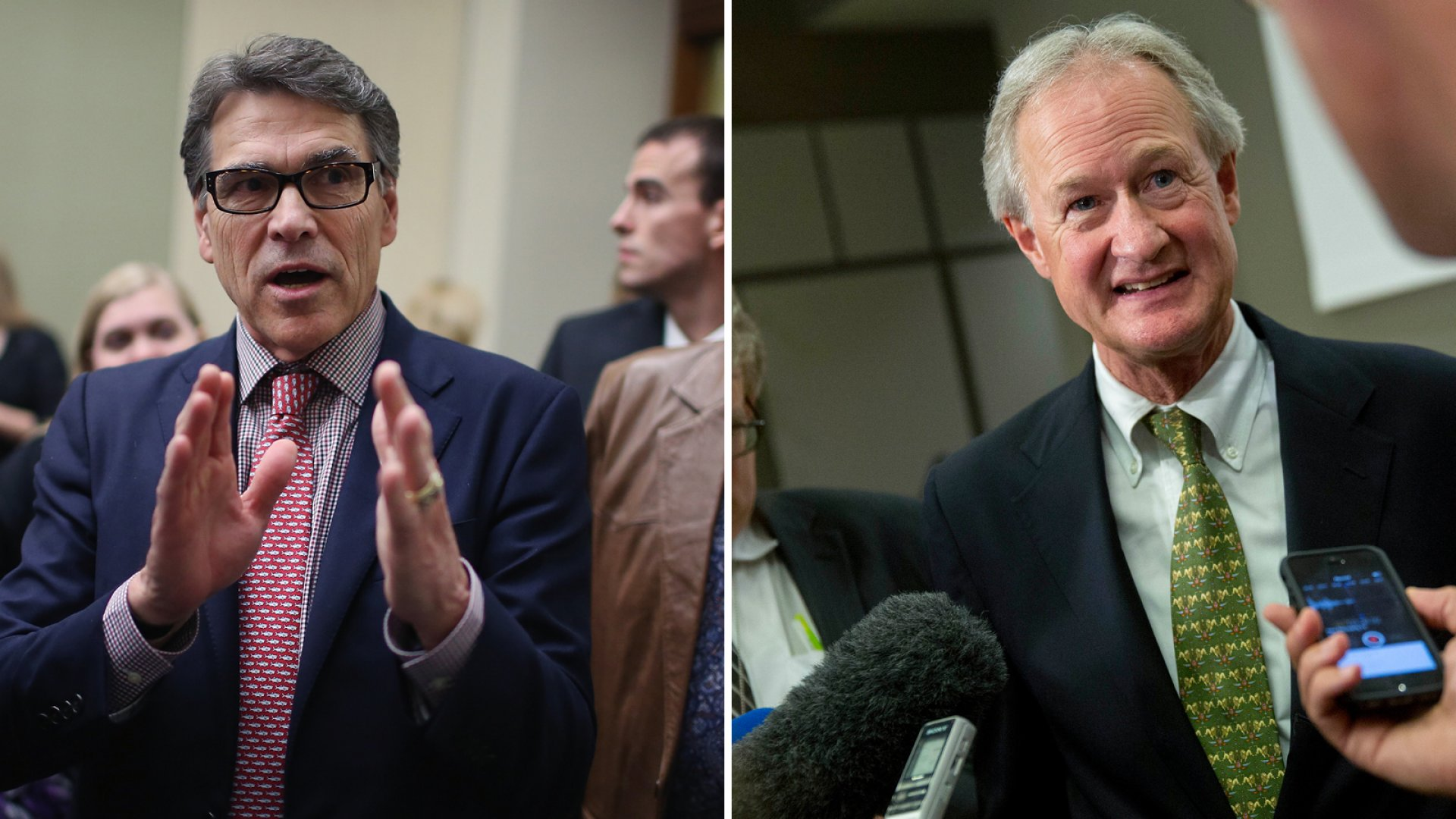 Former governor Rick Perry (R., Texas) and former senator and governor Lincoln Chafee (D., Rhode Island) will run for president.