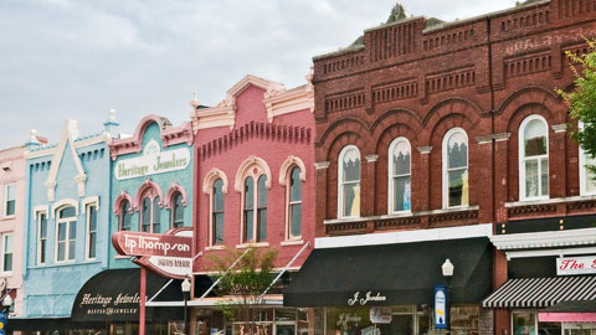 Small businesses line the street in Public Square East, Shelbyville, Tennessee.