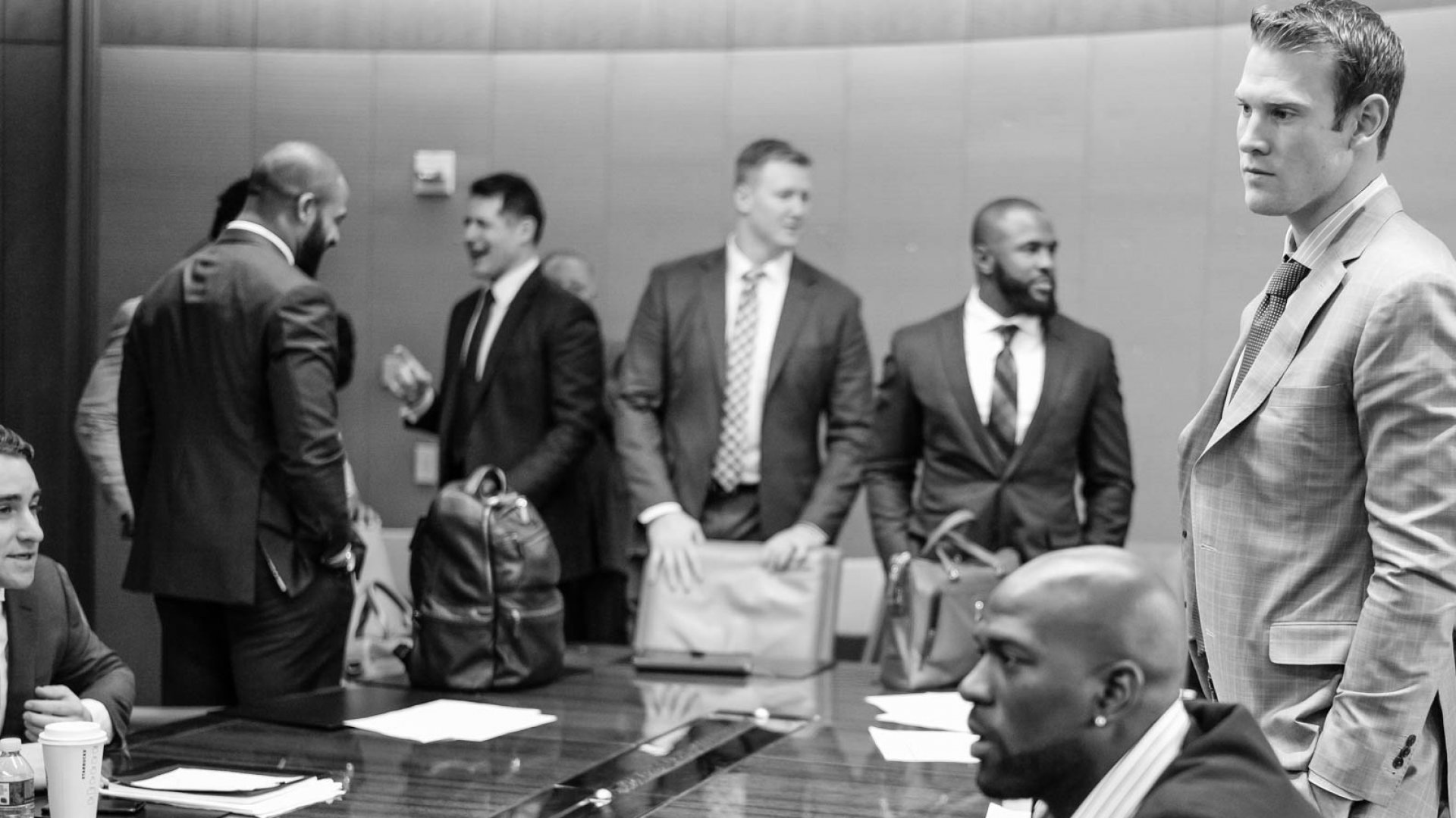 Members of the Miami Dolphins in New York City for the Dolphins player business combine.