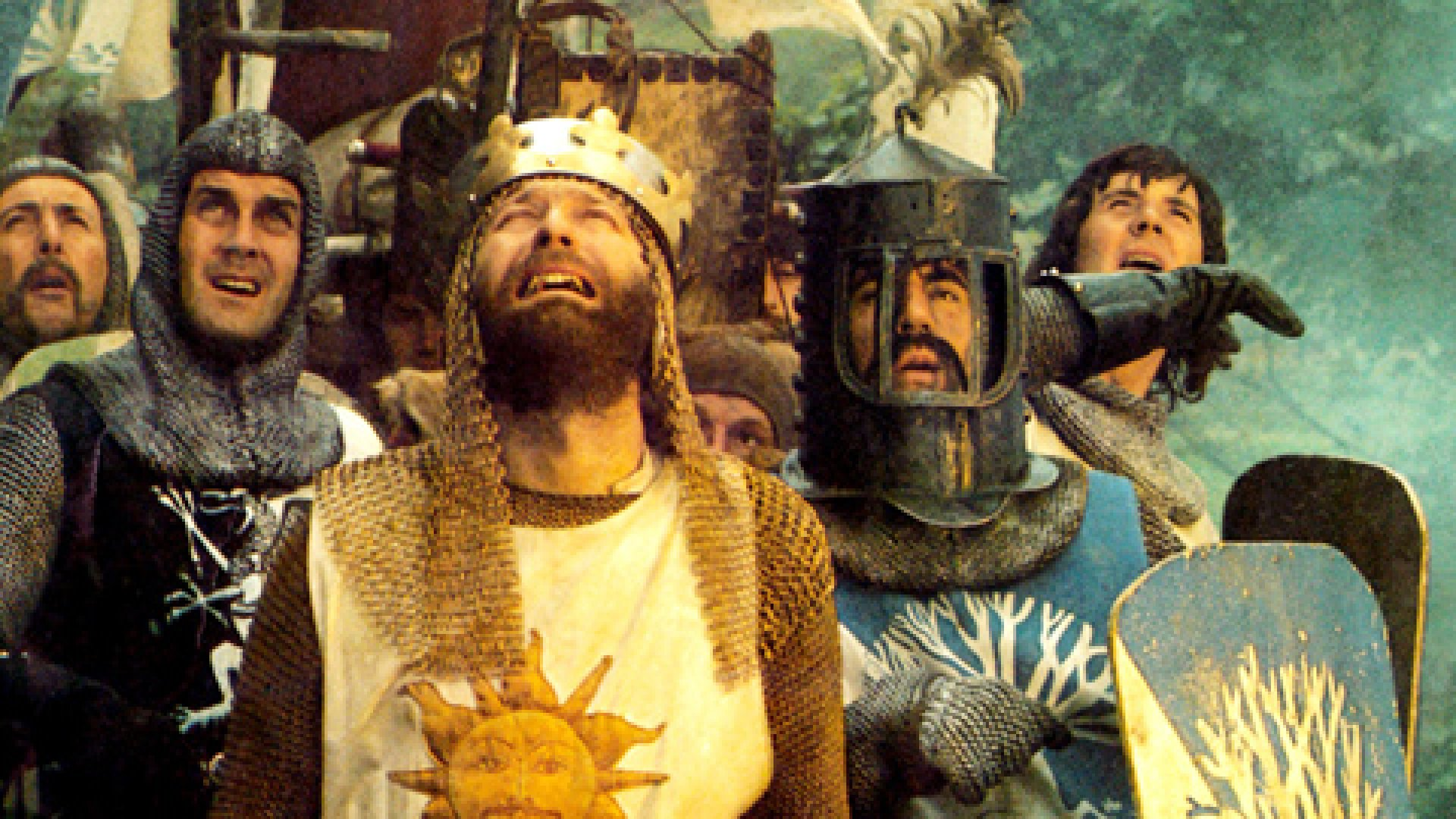 <strong>MONTY PYTHON AND THE HOLY GRAIL: </strong> Eric Idle, Michael Palin, center from left: John Cleese, Terry Jones (helmet), Graham Chapman as King Arthur (front), 1975