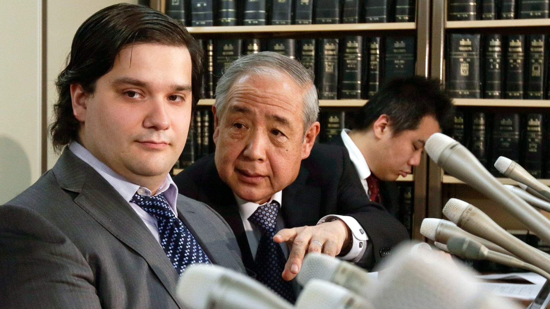 Mt. Gox CEO Mark Karpeles apologizes after filing for bankruptcy during a press conference Friday in Tokyo, Japan.