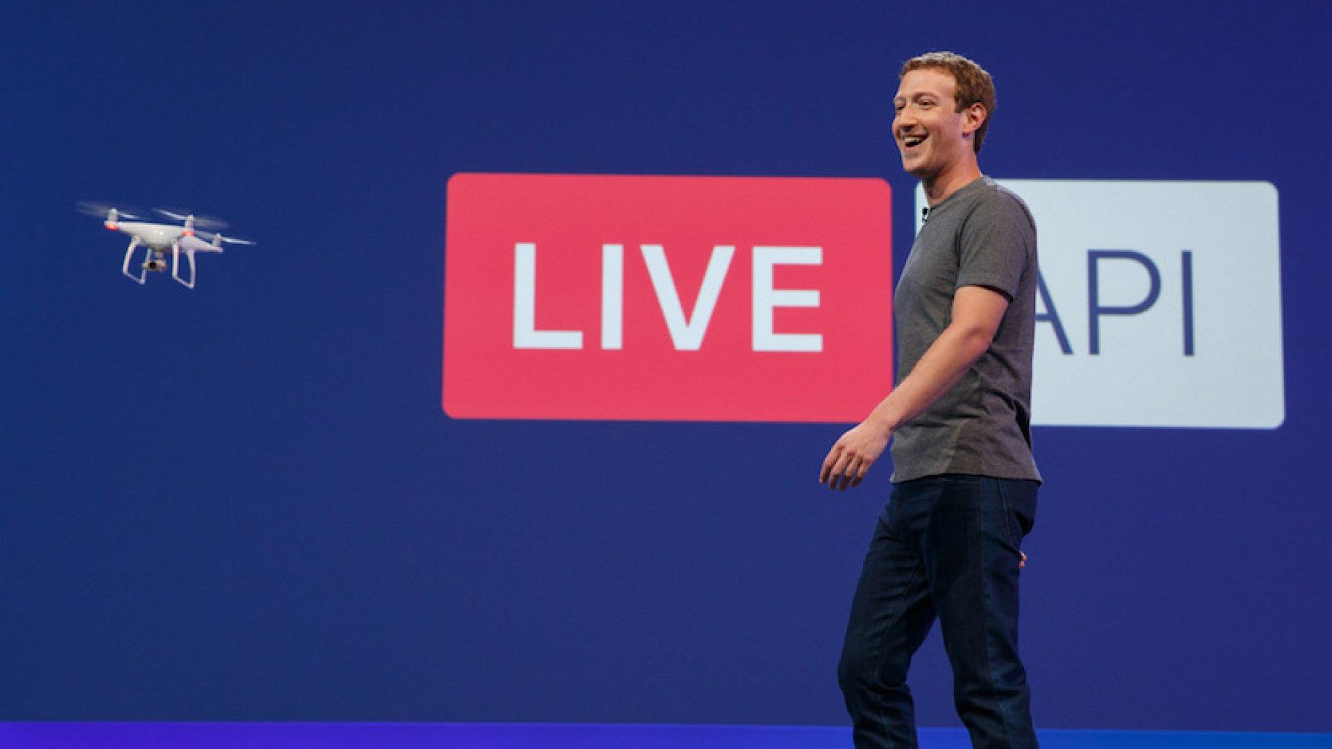 Mark Zuckerberg presenting during Facebook's 2016 F8 developer day.