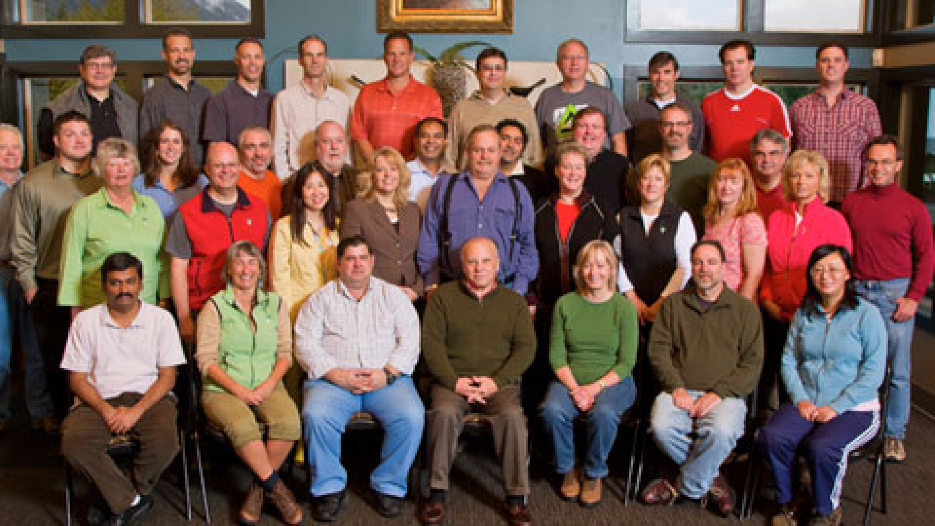The n-Link company together at the Resort of the Mountain, in Mount Hood, Ore.