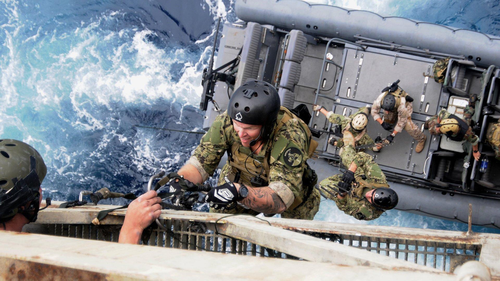 Navy SEALs training in Long Beach, California. July, 2011.