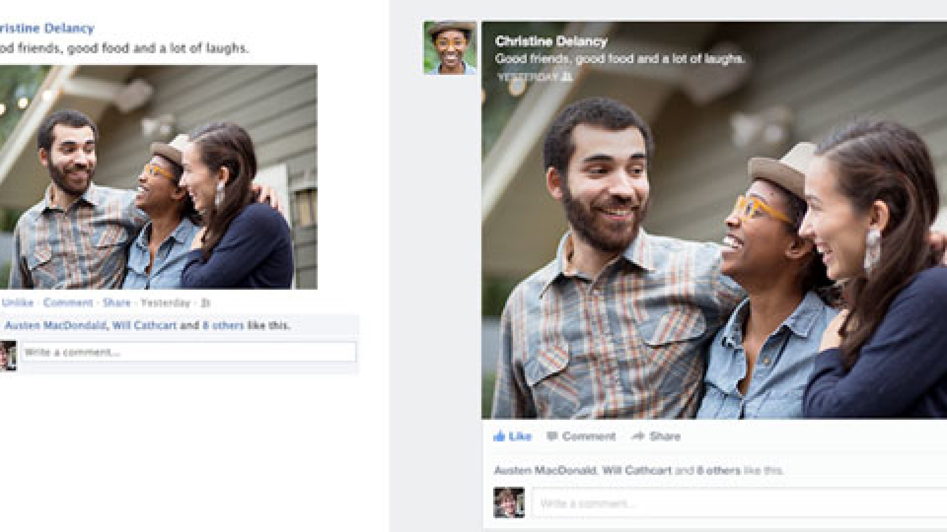 Facebook unveiled its redesigned news feed, which will focus on letting users customize what they see. Above, before and after shots of the news feed.
