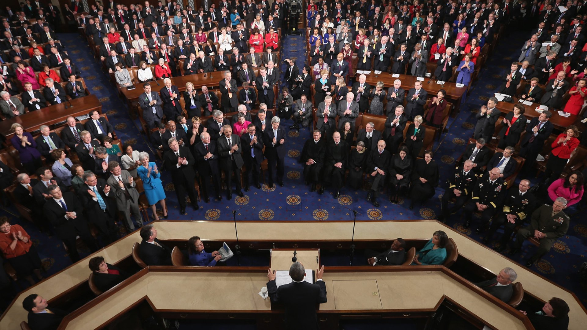 President Barack Obama delivers his State of the Union address before a joint session of Congress at the U.S. Capitol, February 12, 2013, in Washington, D,C.