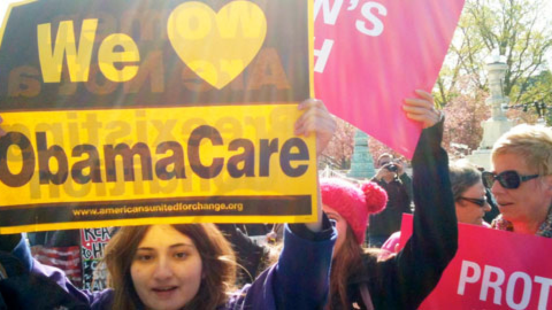 Supporters of the Affordable Care Act rally in front of the U.S. Supreme Court in Washington, D.C., on March 27, 2012.
