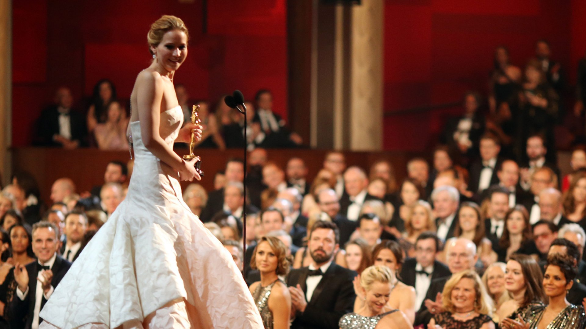 Jennifer Lawrence onstage after winning the award for Actress in a Leading Role during the Oscars on February 24, 2013 in Hollywood, California.