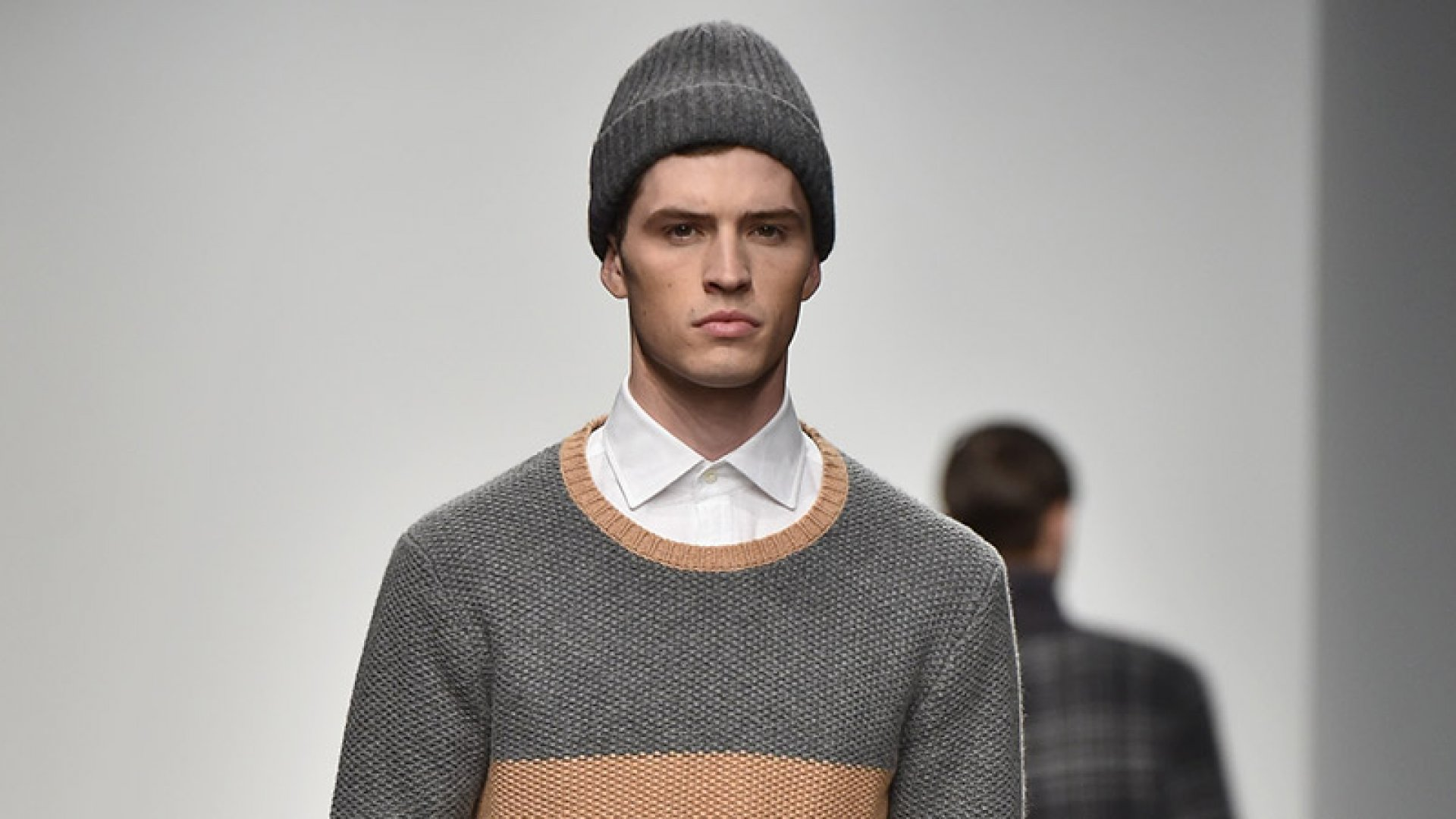 A model wearing a beanie at the Ovadia and Sons show during New York Fashion Week.