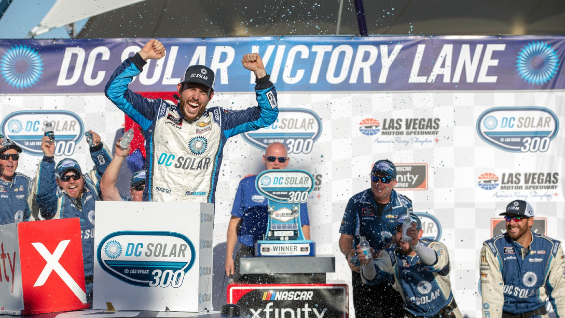 Ross Chastain in Victory Lane after Winning the DC Solar 300.