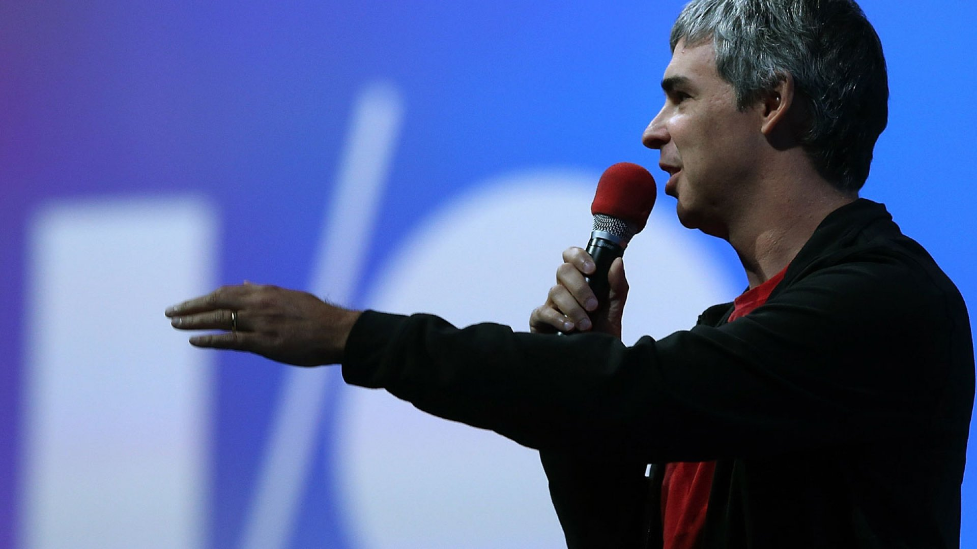 Google co-founder and CEO Larry Page speaks at Google I/O, an annual developer conference in San Francisco.