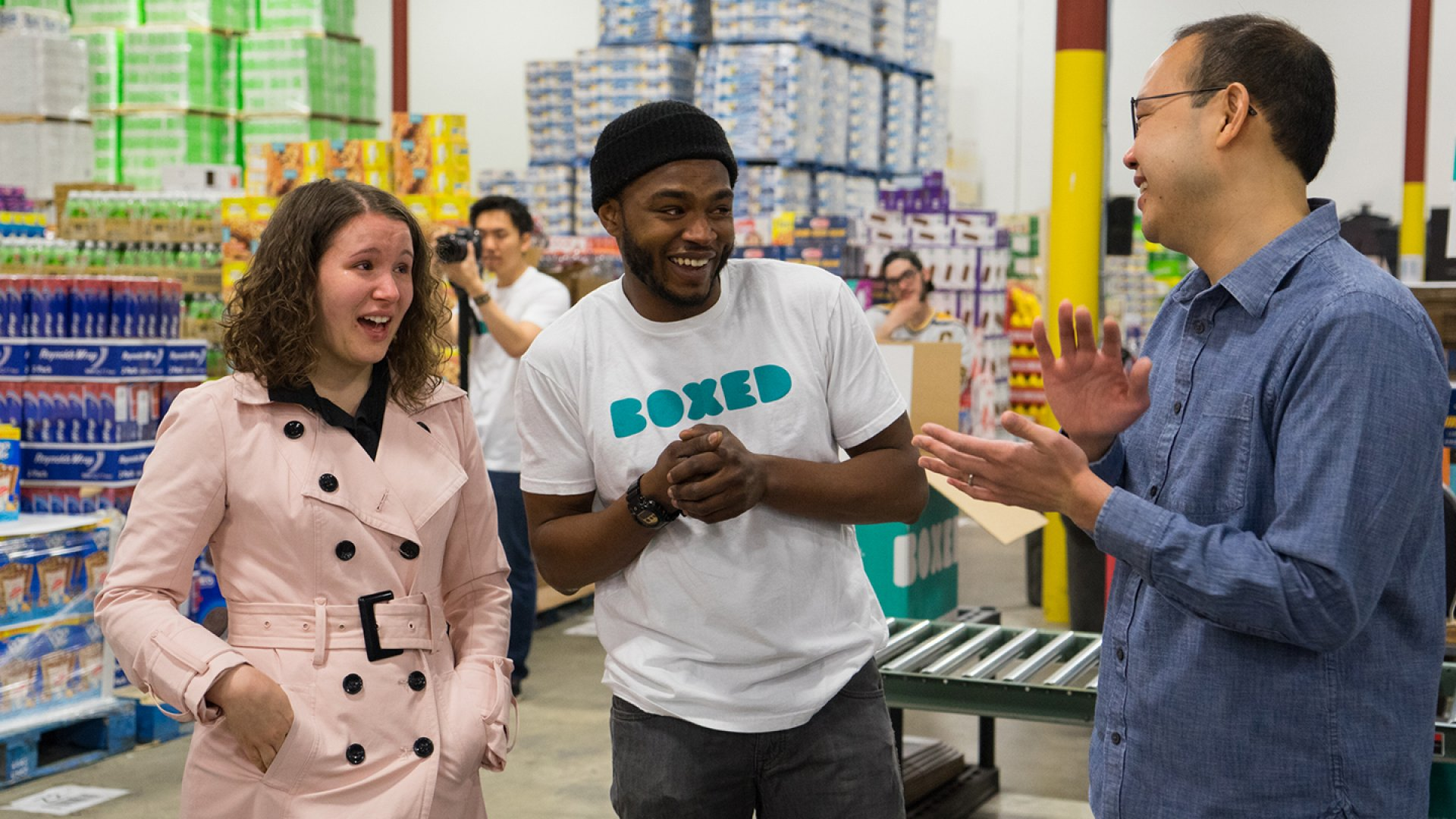 Chieh Huang, CEO of Boxed, announced that the company will start paying for all full-time employees' weddings. Huang (right) surprised employee Marcel Graham and his fiancée this week with the news that Boxed will foot the couple's wedding bill.