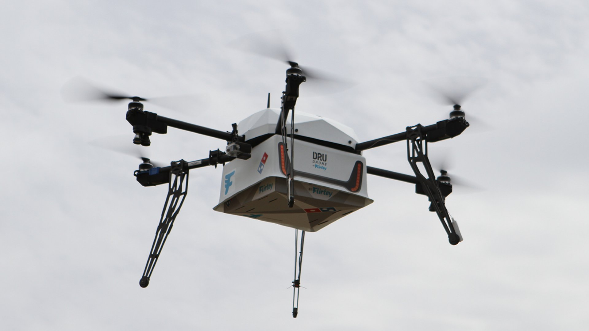 Flirtey launched its delivery drone in New Zealand to deliver Domino's pizza.