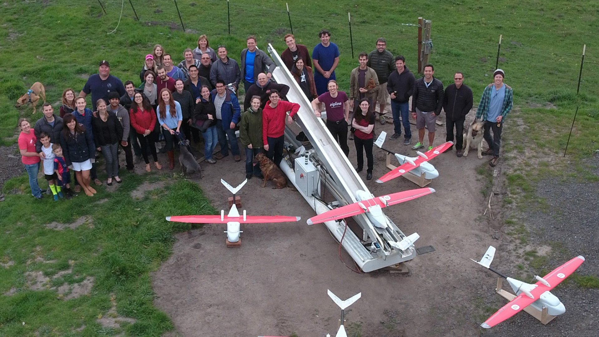 Zipline's team has launched its blood delivery drone service in Rwanda.