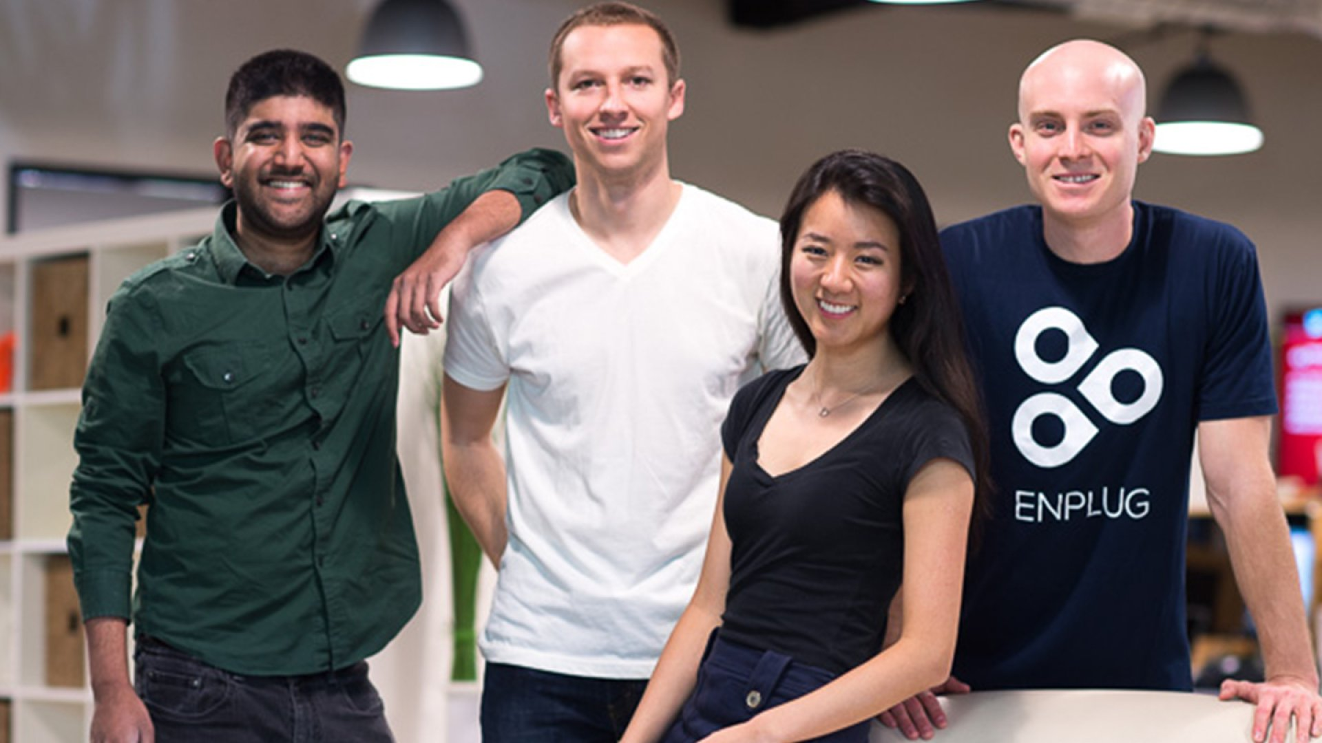 Navdeep Reddy, Zach Spitulski, Nanxi Liu, and Alex Ross lived and worked together in the same house in the early days of launching Enplug.