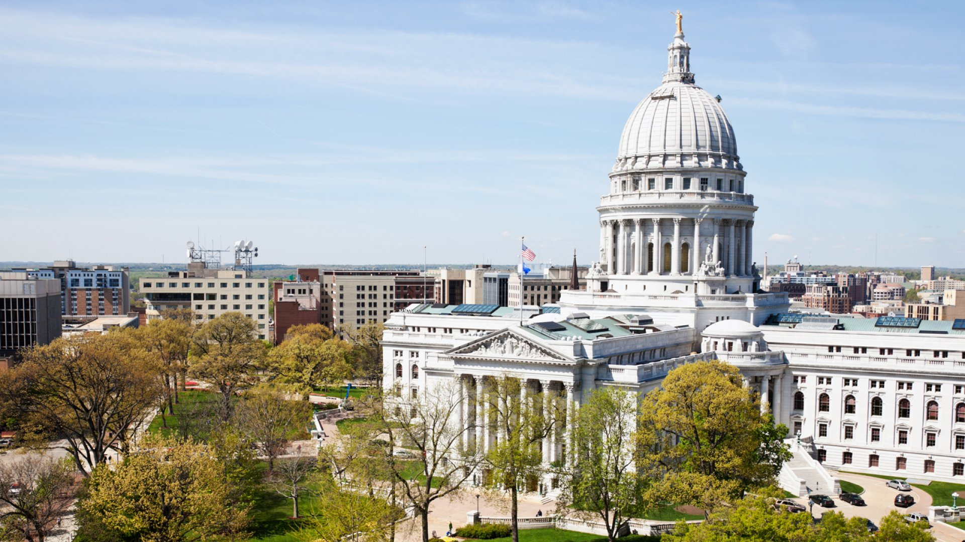 The Wisconsin State Capitol building in Madison