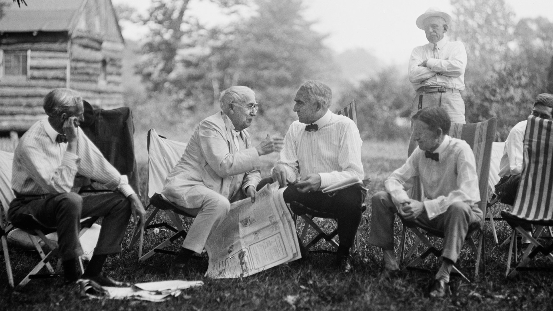 Henry Ford, Thomas Edison, President Warren G. Harding, and Harvey Firestone at a campsite in Maryland in June 1921.