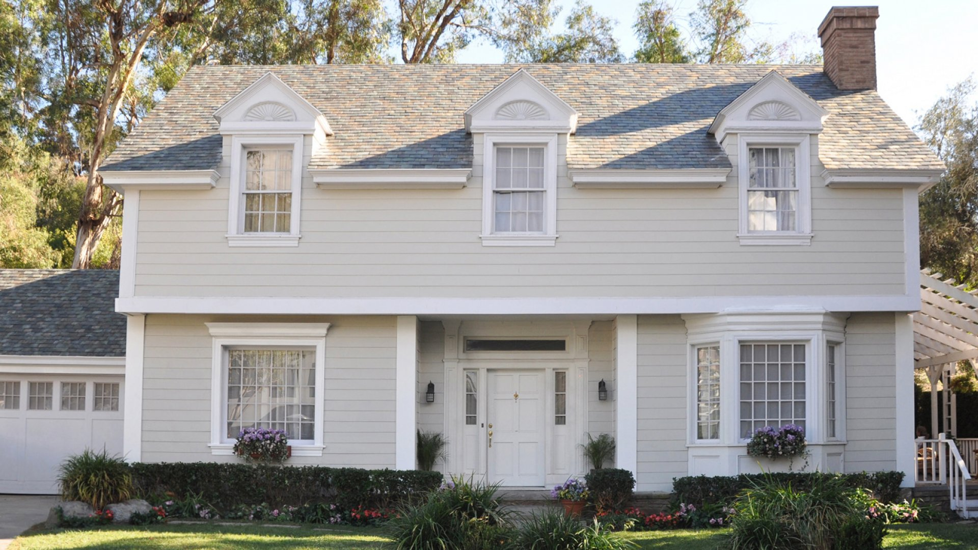 A home with a newly installed Tesla solar roof.