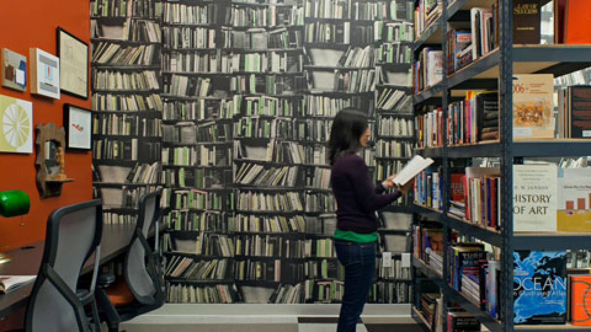 "<b>Reading Room:</b> Quid's office comes equipped with a 5,000 book on-site ""library."""