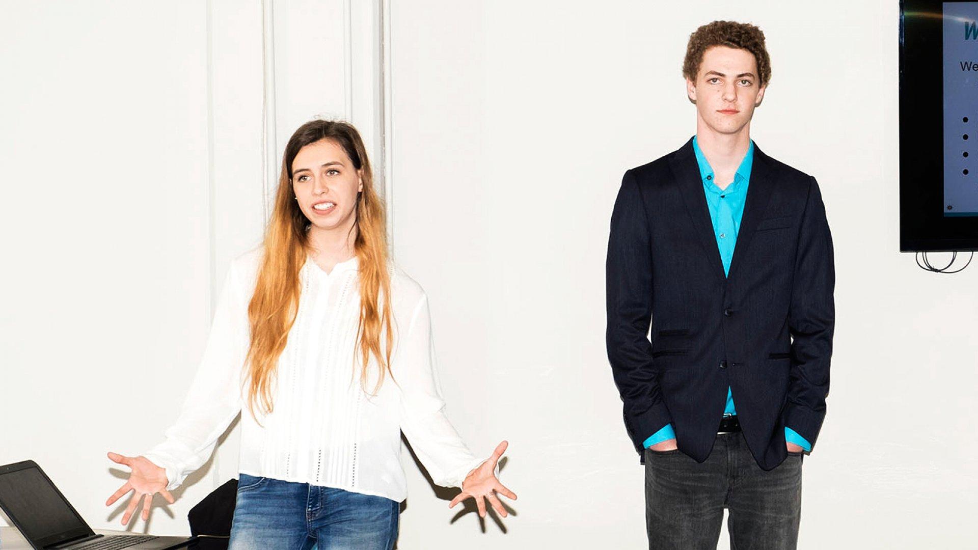 At Austin's David Crockett High School, juniors in its Student Inc. entrepreneurship program pitch their startups to investors as part of an incubator class.