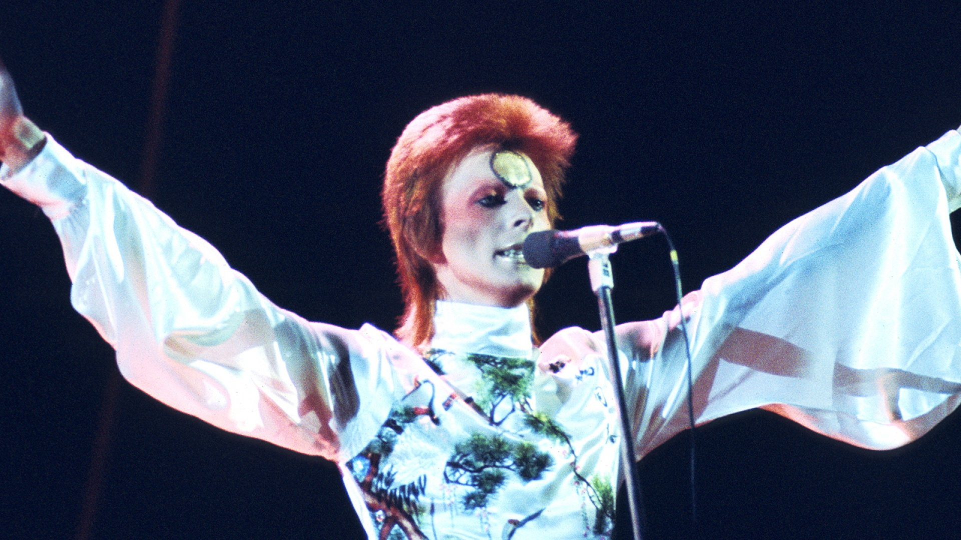 David Bowie on stage as alter ego Ziggy Stardust in 1973.