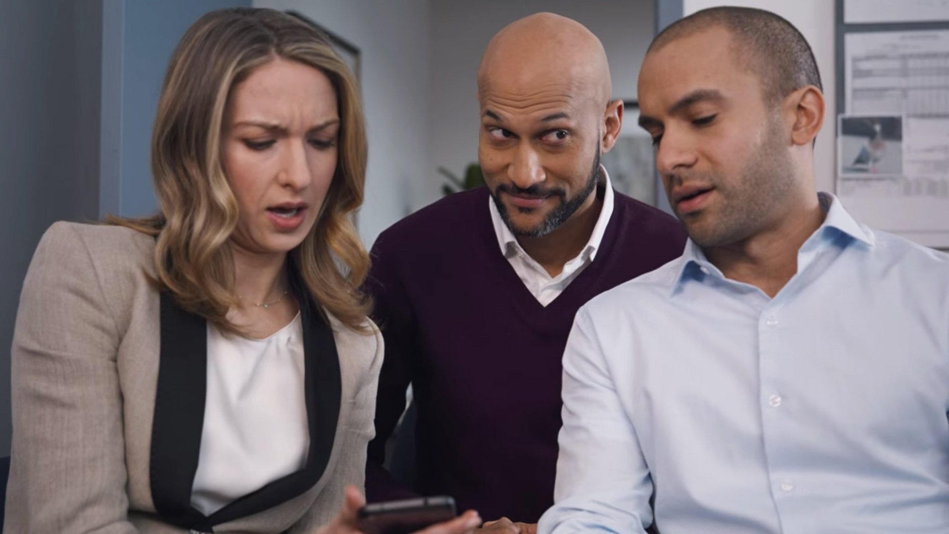 Keegan-Michael Key (center) featured in this year's Quicken Loans Rocket Mortgage ad during Super Bowl LII.