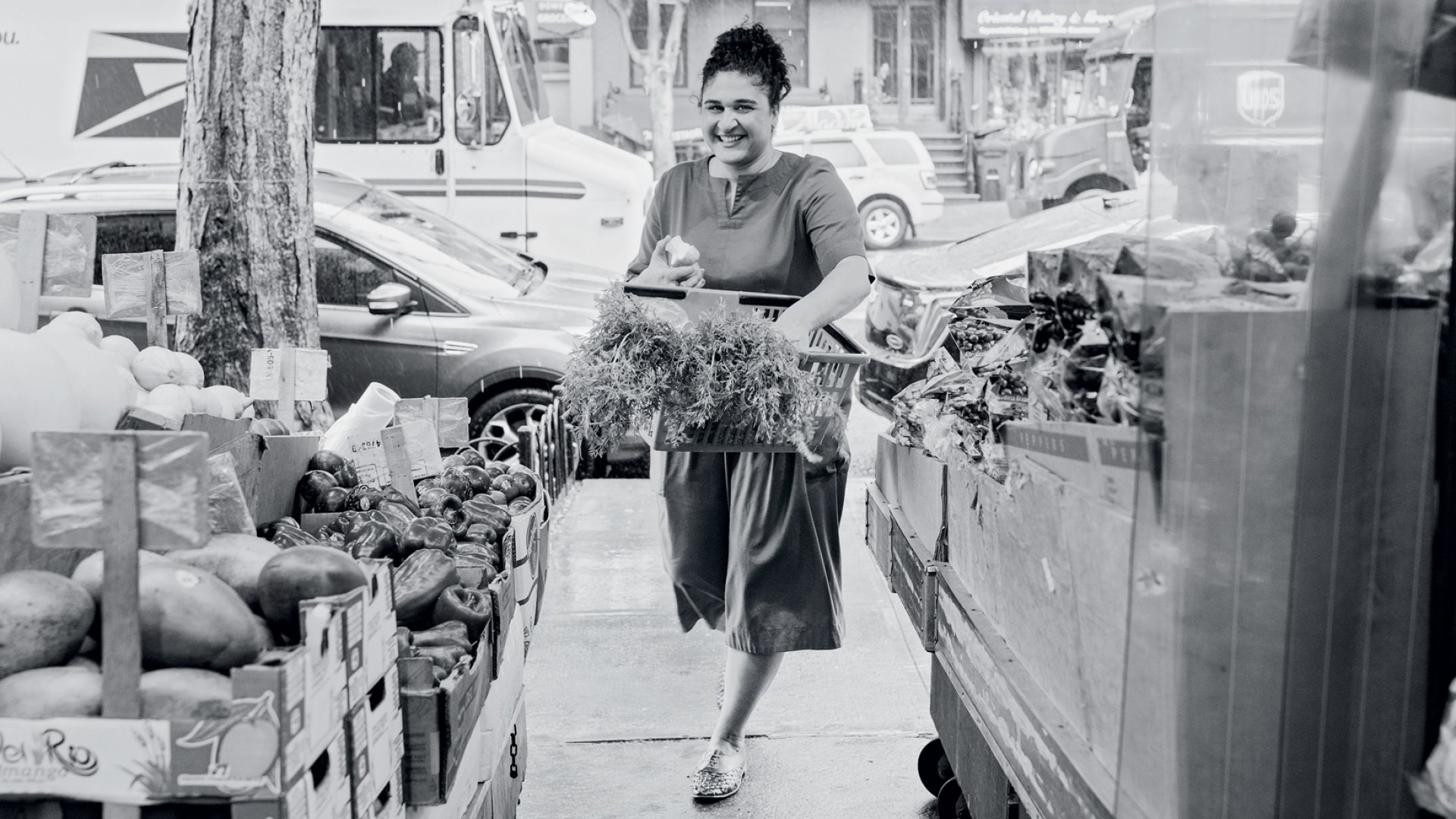 Samin Nosrat, finding joy (and produce) while shopping in Brooklyn.