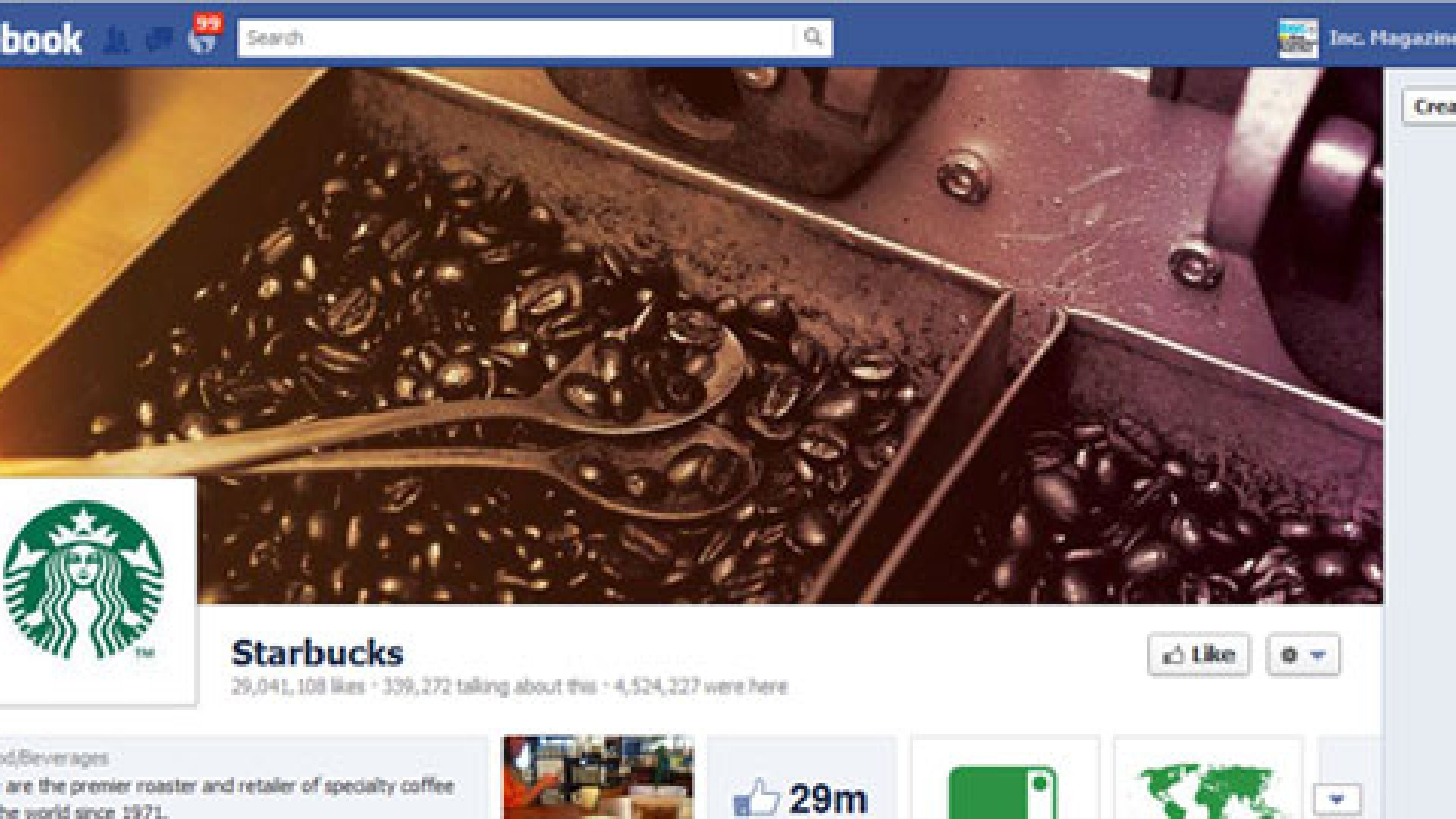 Starbucks has switched over to the new timeline-style Facebook page.